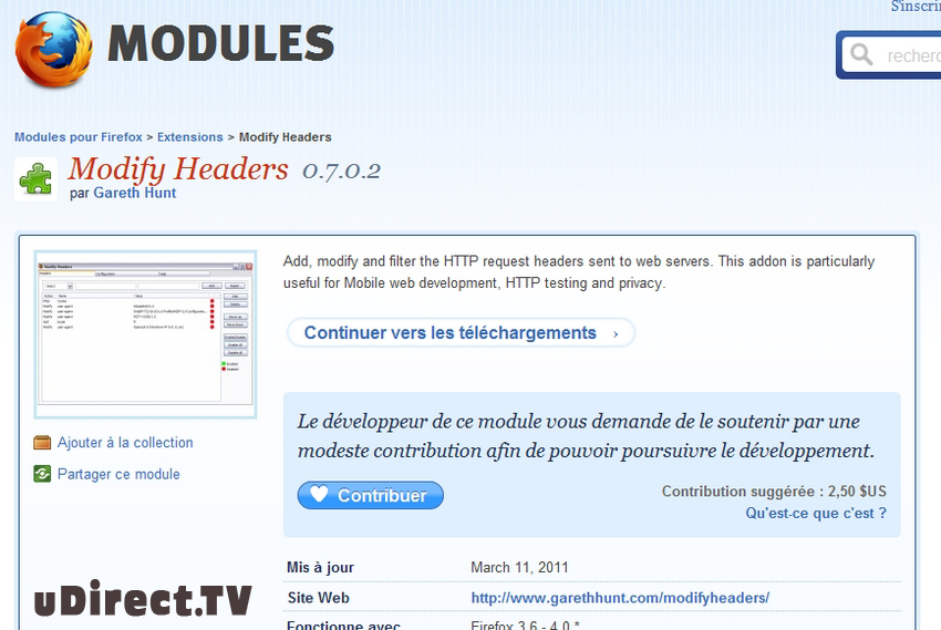 Modify Headers Addon pour Firefox
